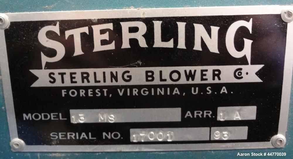 "Used- Sterling Blower, Model 13 MS, Arrangement 1A, Carbon Steel. Approximately 5000-5800 cfm. Approximately 14"" diameter si..."