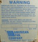 Used- American Fan Blower, model BCS200, carbon steel. 21
