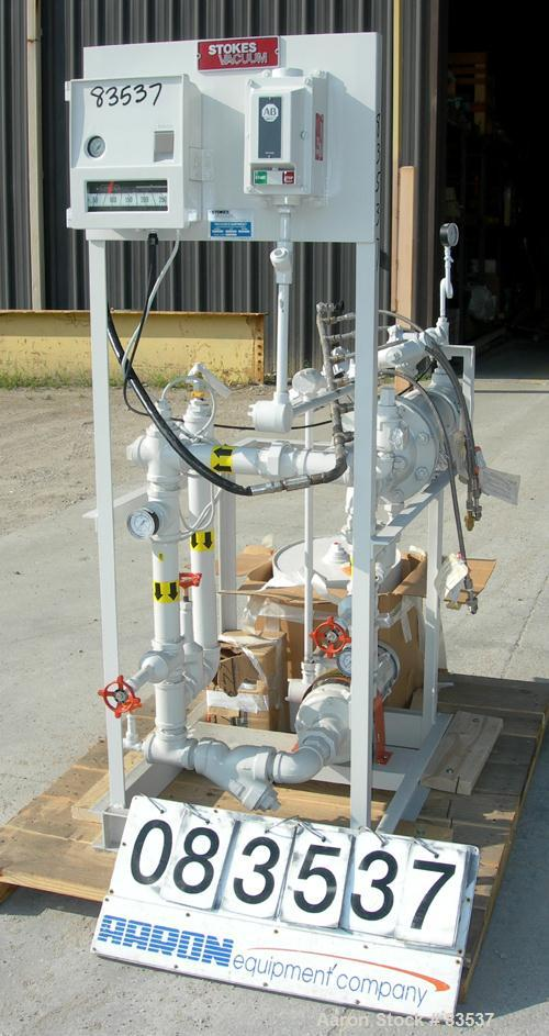 USED: Stokes heating skid, model 600-540. Designed for water heating for a conical or shelf dryer. Consists of (1) heat exch...