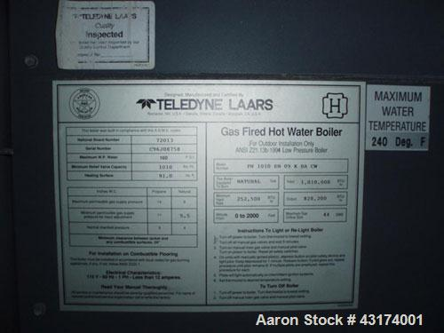 Used-Teledyne Laars Water Heater, Model PH1010EN09KBACW.Natural gas, 91 square feet surface, 1.01 mm btu/h input, 828,000 bt...