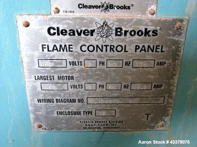 Used- Cleaver Brooks 500hp Packaged Steam Boiler, Model CB-100-500-150. Rated up to 17,250 pounds of steam per hour, 16.74 m...