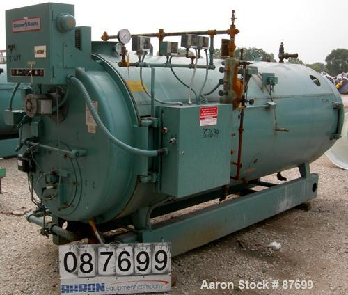 USED: Cleaver Brooks packaged firetube boiler, model CB700-80. 80 hp, input 3,350,000 btu/hour. 2760#/hour of steam at 212 d...