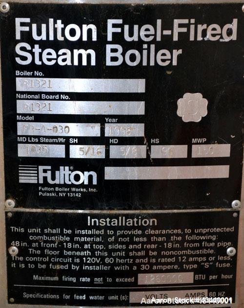 Used- Fulton Gas Fired Steam Boiler, Model FB-A-030