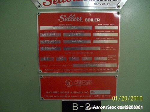 Used- Sellers Immersion Fired Packaged Hot Water Boiler, model S-200-W 15SR. Horizontal, single pass firetube boiler designe...