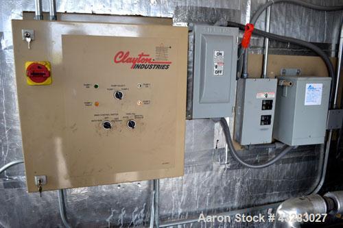 Used- Clayton Industries Oil Fired Steam Generator, Model EO-60-1. Boiler horsepower 60 bhp, heat input gas 2,510,625 btu/hr...