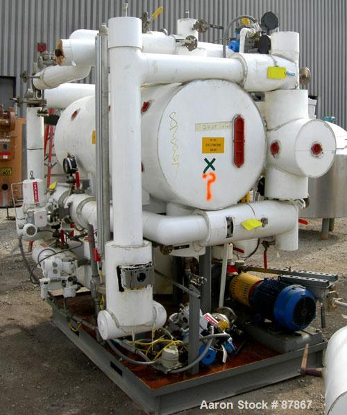 USED: Syltherm skid consisting of (1) ITT shell and tube heat exchanger, shell and tubes rated 150 psi at 375 deg F; (1) Gou...
