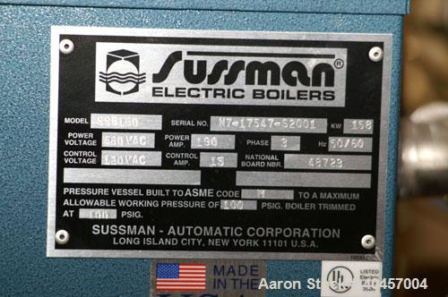 Used-Sussan Electric boiler/clean steam generator. 480VAC/150 amp/3 ph, with stainless steel boiler, and 480 VAC disconnect ...