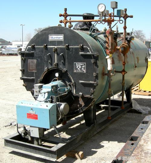 Used- Burnham Corporation 3 Pass Steam Boiler, Model 3P-100-50-G-GP. Steam capacity rated 3450 LBS/HR. Max steam 150 PSI. 10...