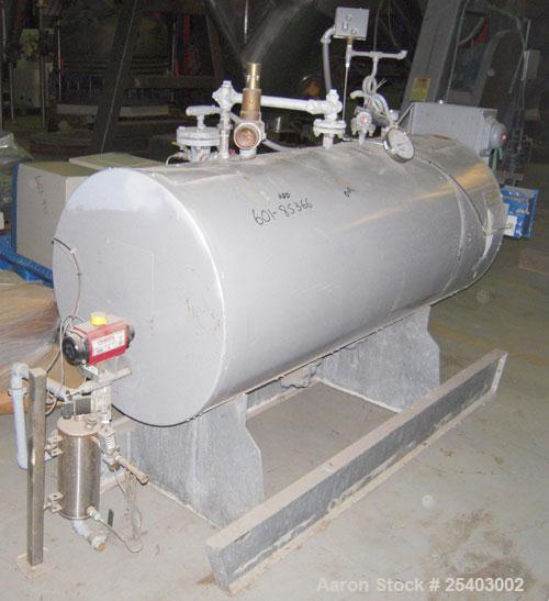 Used- Cemline Horizontal Unfired Steam Generator, Model H120USG1048. Size 24 x 63. 120 gallon capacity. Rated 150 psi water ...