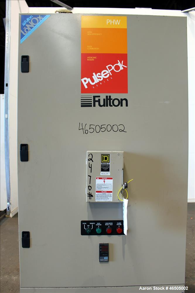 Used- Fulton PulsePak Combustion Hydronic Boiler, Model PHW-1400SM. 1,400,000 BTU/HR. Approximate 36 bhp, 160 psi working pr...