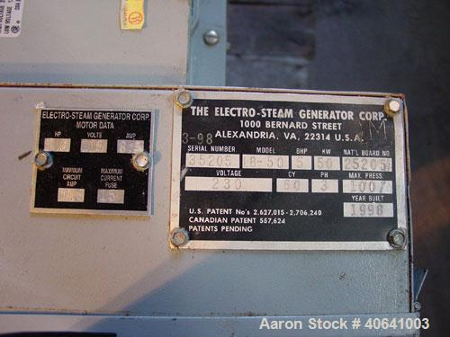 Used- Electro Steam model LB50 steam generator, National Board #25205. Electric rating: 50 kW. Developed boiler hp: 5 hp. St...