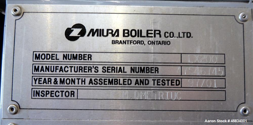 Used- Miura Boiler, Model LX-200, 200 HP.