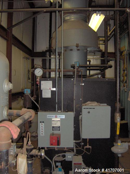 Used-Parker Water Tube Boiler, Model 104-50. Natural gas, 50 hp, 1725 pounds/hour, 200 psi. Includes blowdown tank, pressure...
