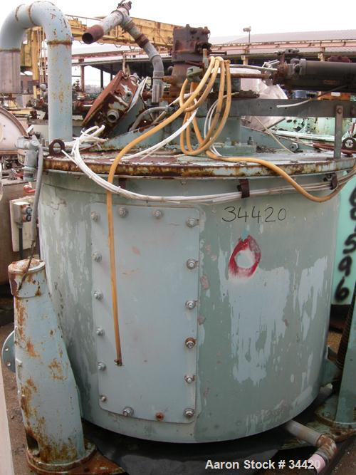 """USED: Delaval/ATM Mark III, 48"""" x 30"""" solid bowl basket centrifuge, 316 stainless steel curb, stainless steel clad top. Max ..."""