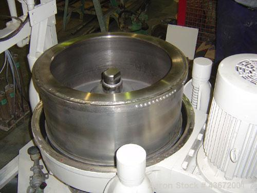 "Used-Kokusan 26"" x 12"" Solid Bowl Basket Centrifuge.  Stainless steel construction (product contact areas).  Maximum bowl sp..."
