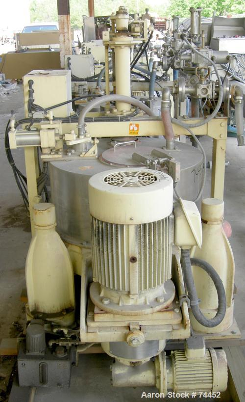 """USED: Kokusan 26"""" x 12"""" solid bowl basket centrifuge, stainless steel construction (product contact areas). Max bowl speed 2..."""