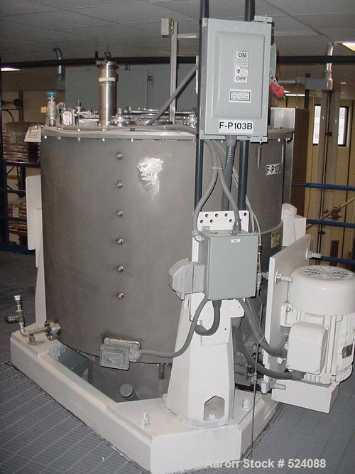 "USED: Sharples 48"" x 30"" perforated basket centrifuge, 316 stainlesssteel construction on product contact areas. Top load, b..."