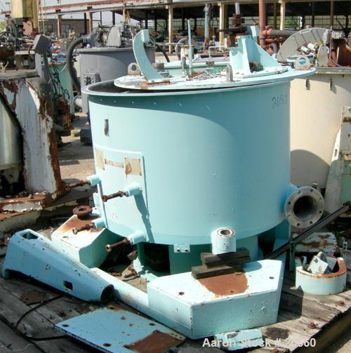 USED: Sharples T-1300 Tornado 48 x 24 perforate basket centrifuge. Bottom discharge. Max bowl speed 1150 rpm. 50 hp hydrauli...
