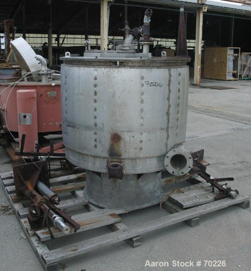 """USED- Sharples 48"""" X 30"""" Tornado Perforated Basket Centrifuge, 316 Stainless Steel Construction (Product Contact Areas). Top..."""