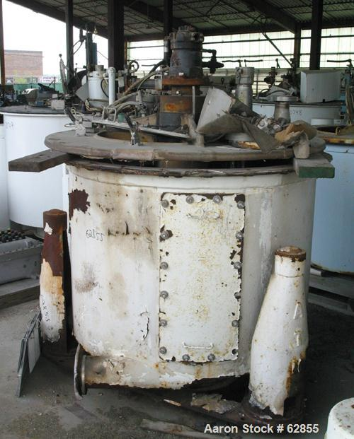 "Used- Tolhurst Ametek Mark III 48"" x 30"" Perforated Basket Centrifuge. Rubber lined curb housing/top cover. Top load, bottom..."