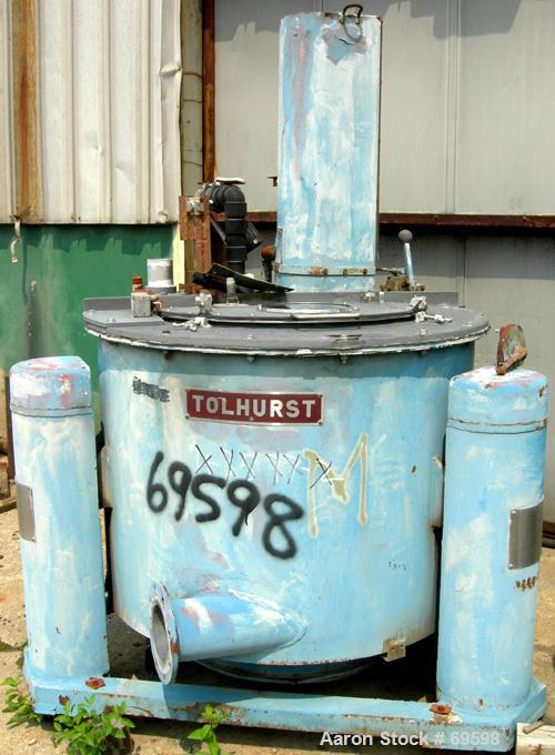 "USED: Tolhurst 40"" x 24"" basket centrifuge, carbon steel/rubber lined. Max bowl speed 1180 rpm. Top load, bottom dump, tripo..."