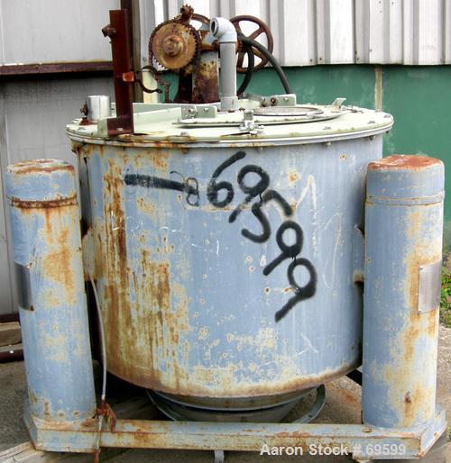 "USED: Tolhurst 48"" x 24"" perforated basket centrifuge, carbon steel construction, stainless steel cover, top load, bottom du..."
