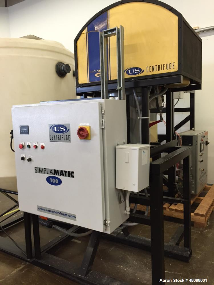 Used- US Centrifuge; Model A100. Fully automatic, self-cleaning, used for liquid/solid separation. Can process from 1 up to ...