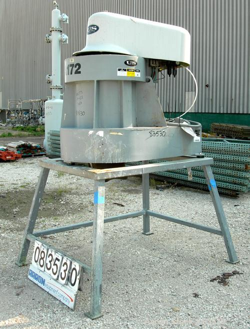 USED: US Model A172 Solid Bowl Centrifuge, carbon steel. Top load, bottom unload. Max bowl speed 2500 rpm, basket solids hol...