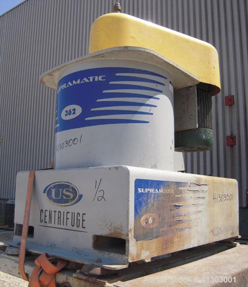 "Used- US Centrifuge, Model A362, Supramatic, 18"" ID solid wall basket centrifuge.  Top load, bottom unload, max bowl speed 3..."