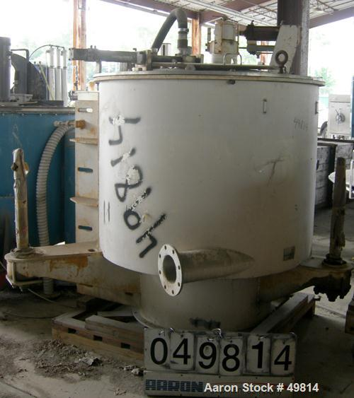 "Used- Western States 48"" x 30"" Sludgatron Solid Wall Basket Centrifuge. 316 Stainless steel, top feed-bottom dump, tri-pod s..."