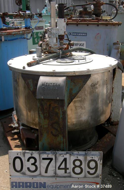 USED: Western States 36 x 15 perforate basket centrifuge, 316 stainless steel. Tripod mounted, bottom dump, bottom drive, pn...