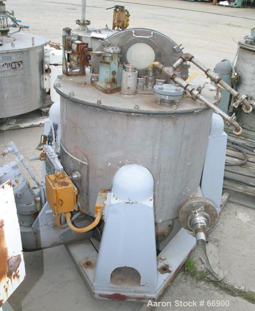 """Used- Western States 30"""" x 18"""" Perforated Basket Centrifuge. 316 Stainless steel construction on product contact areas, top ..."""