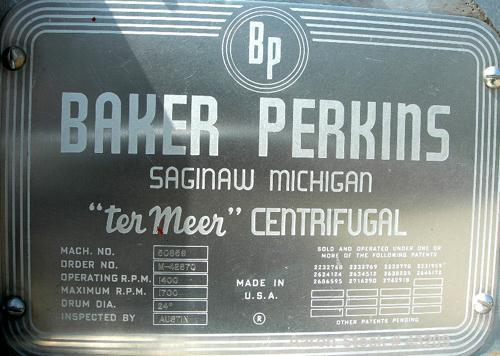 "USED: Baker Perkins model HS-24W Termeer centrifuge, 317 stainless steel. 24"" x 12"" wide. 20 hp, 3/60/220-440 volt, 1750 rpm..."