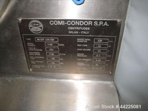 Used- Comi-Condor Horizontal Peeler Centrifuge, Model HX-GMP630-250
