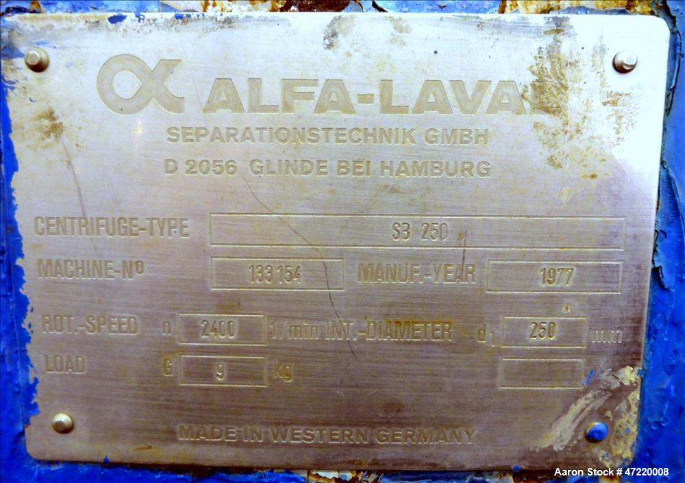 Used- Alfa-Laval SB-250 Pusher Centrifuge