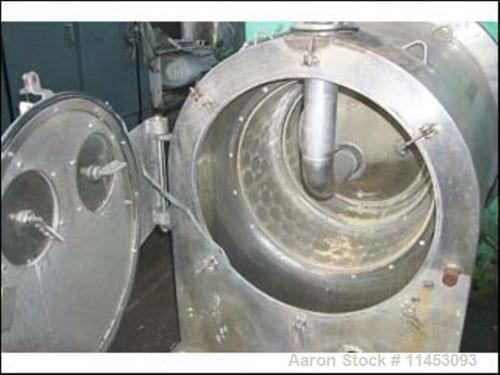 Used-Alfa Laval SB630/2 Pusher Centrifuge. 316 stainless steel product contact areas, 1800 rpm, two stage. 550/630 mm bowl d...