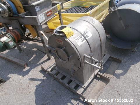 Used- Bird Machine Peeler Centrifuge, Stainless Steel.