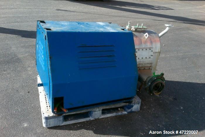 Used- Krauss Maffei model SZ-21 T316 stainless steel pusher centrifuge. 250mm diameter single stage cylindrical basket. ADM ...