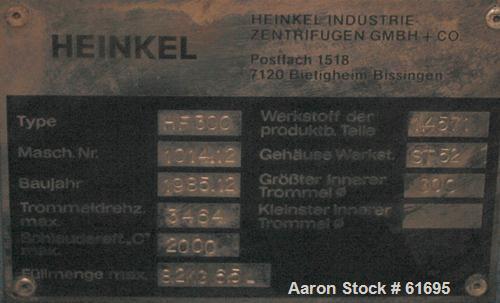 Used- Stainless Steel Heinkel Inverting Filter Centrifuge, Model HF-300