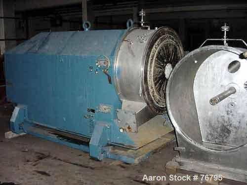 USED: Heinkel HF-800 Inverting Filter Centrifuge, 316 (1.4571) stainless steel construction. Max bowl speed 1600 rpm, 1138 x...