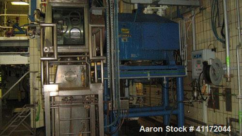 Used- Heinkel Inverting Filter Centrifuge, Model HF600, Hastelloy. Has carbon steel body. Hydraulic main drive with electric...