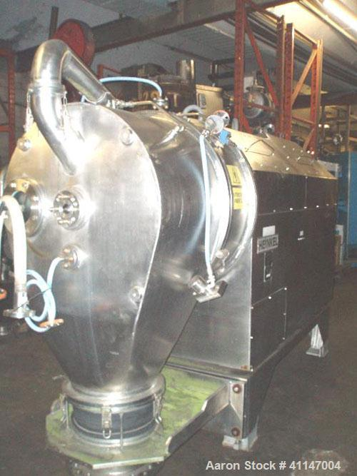 Used-Heinkel HF800 Inverting Filter Centrifuge. 316Ti (1.4571) stainless steel construction. Max bowl speed 1600 rpm. 1138 x...