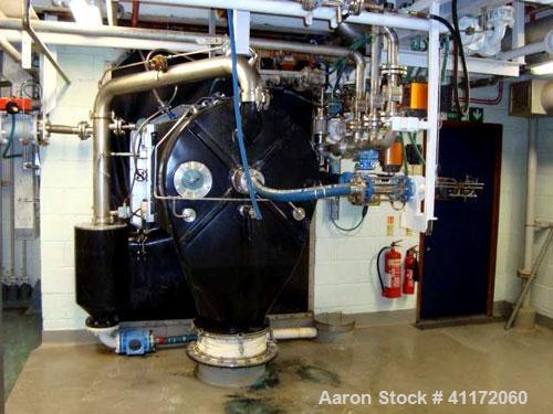 Used- Heinkel Inverting Filter Centrifuge, Model HF800, Hastelloy C22. 800 mm diameter drum, maximum speed 1600 rpm, maximum...