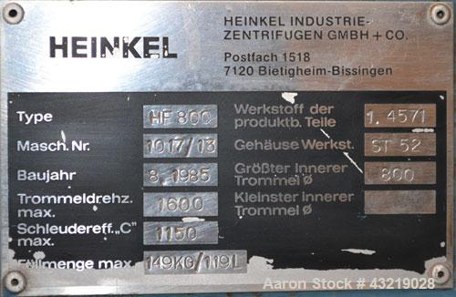 Used- Stainless Steel Heinkel Inverting Filter Centrifuge, Model HF-800