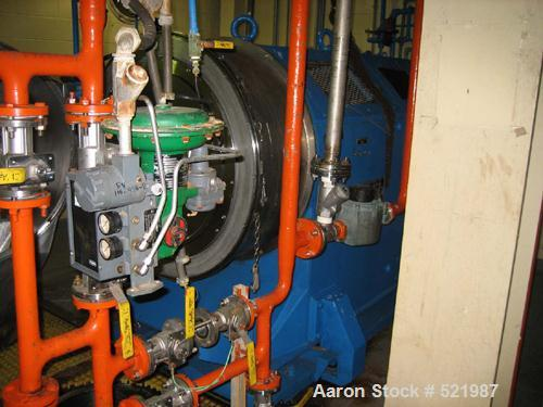 USED: Heinkel model HF800 316L stainless steel peeler centrifuge.149 kg/119.1 liter maximum filling capacity. 1600 rpm drum ...