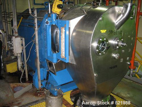 USED: Heinkel model HF800 inverting basket 316 stainless steelcentrifuge. Rated 149 kg maximum loading capacity. 800 mm bask...