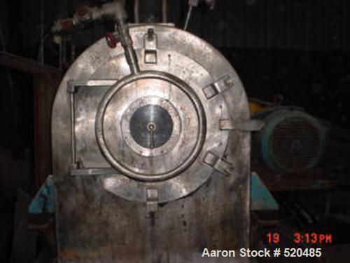 "USED: Tema H350 Conturbex horizontal worm/screen centrifuge, stainless steel construction. 10 degree basket design, 3"" tripl..."
