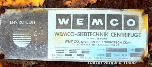 """USED: Wemco HSG-1100 Screening Centrifuge, carbon steel. Constant angle bowl design, 48"""" diameter x 28"""" deep bowl assembly w..."""