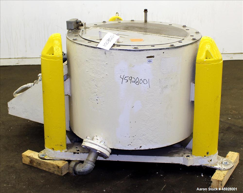 """Used- Chip Wringer, 316 Stainless Steel. 30"""" Diameter x 17"""" deep perforated basket. Flat top and bottom. Has bolted on top w..."""
