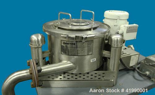 """Used-Ametek 12"""" x 6"""" Perforated Basket Centrifuge. Stainless steel construction, max basket speed 2900 rpm, top unload, bask..."""
